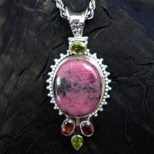 Jewelry - Pink & Black Rhodonite pendant with gemstones